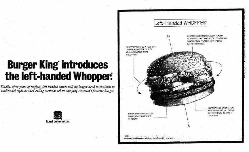 Burger King Left Handed Whopper